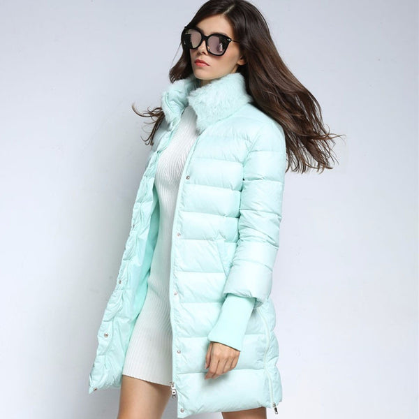 Women Warm Duck Down Jacket Long Coat Rabbit Fur Parka-elatestore-elatestore