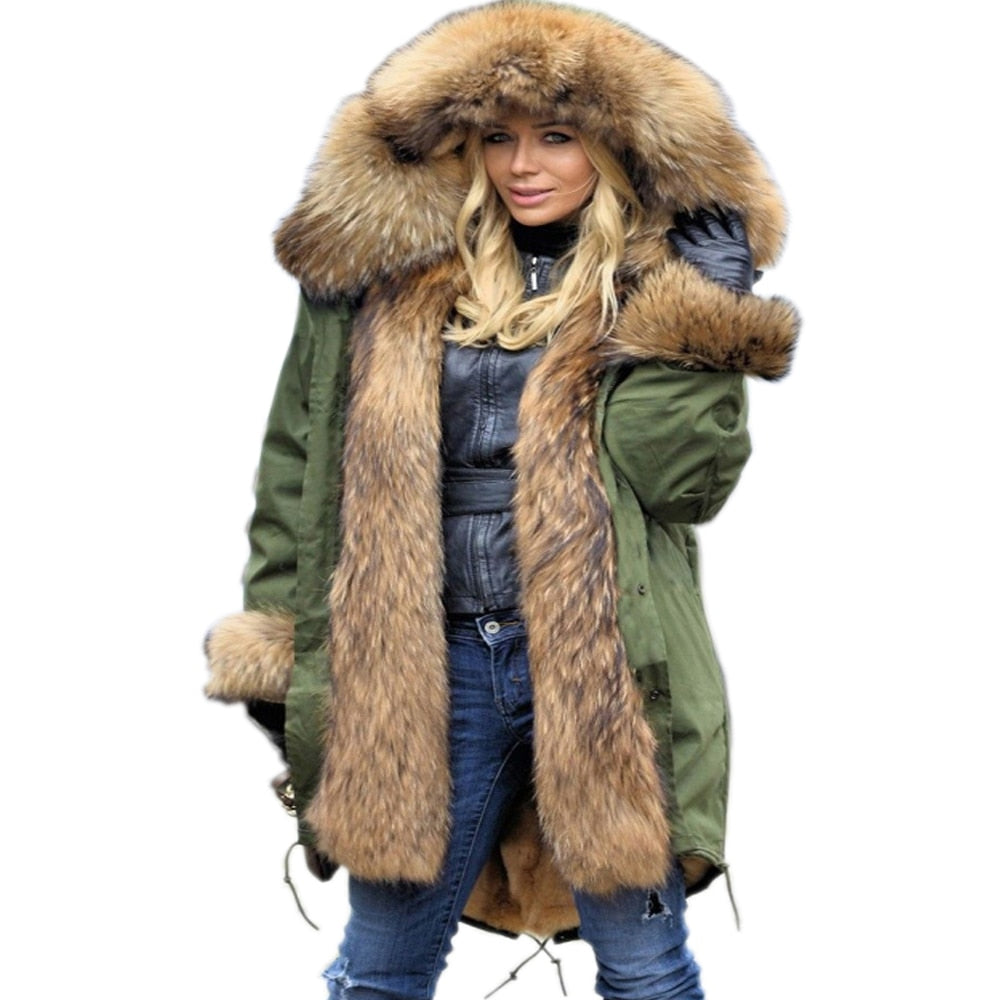utterly stylish high quality guarantee for sale Warm Women Jacket Thick Big Hooded High Waist Faux Fur Coat