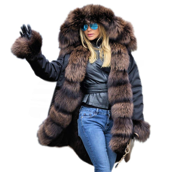 Thickened Warm Faux Fur Parka Women Hooded Long Winter Jacket Coat Overcoat-elatestore -elatestore