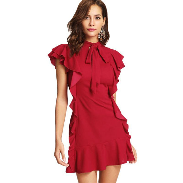 Women Party Dress Flounce Embellished Tied Neck Dress Red Tie Neck Cap Sleeve Ruffle Hem Zipper Back Sheath Dress-elatestore-elatestore