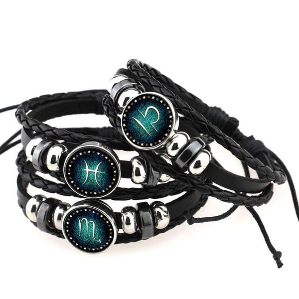 Men Leather Zodiac Sign with beads Bangle Bracelets