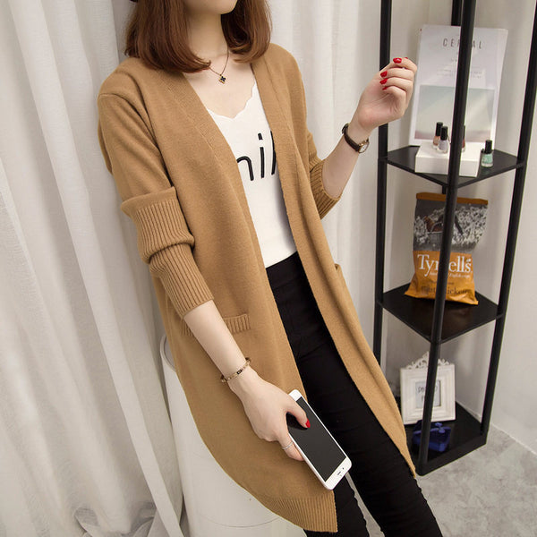 Women Warm Sweater Long Sleeved Open Stitch Cardigan Loose Coat-elatestore-elatestore