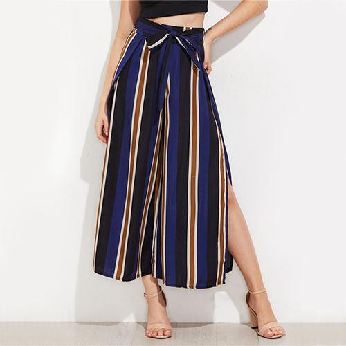 Navy Split Side Wide Leg Cropped Pants Elegant High Waist Women Striped Pants Zipper Bow Tie Loose Pants - elatestore