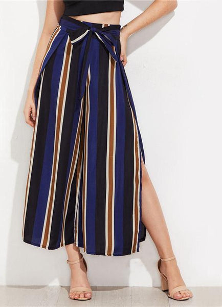 Navy Split Side Wide Leg Cropped Pants Elegant High Waist Women Striped Pants Zipper Bow Tie Loose Pants-elatestore-elatestore