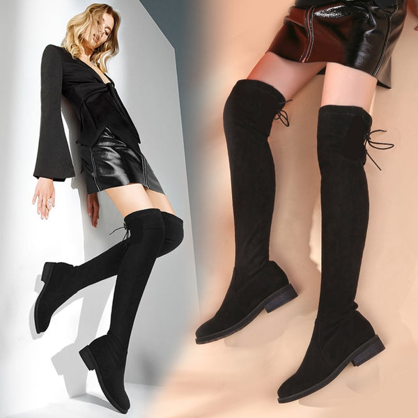 Shoes Woman Winter Boots Stretch Slim Over Knee Boots Women Round Toe Square Heels Black Women Thigh High Boots Snow Shoes Size - elatestore