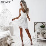 Sibybo Backless Spaghetti Strap Sexy Lace Dress Women Sleeveless V-Neck Loose Summer Dress Cotton Black Elegant Party Dresses-elatestore -elatestore