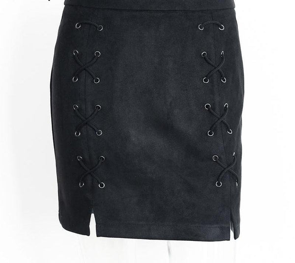 afe606ad9a ... Autumn Lace Up Leather Suede Pencil Skirt Cross High Waist Skirt Zipper  Split Bodycon Short Skirts