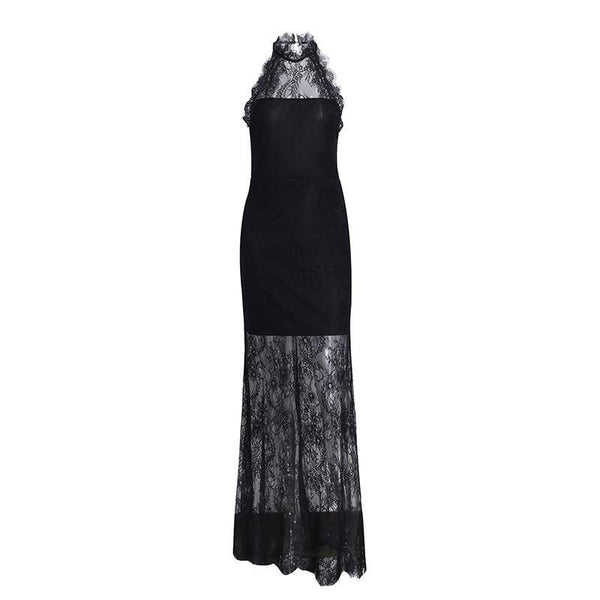 Masha Elegant Halter Sexy Backless Long Christmas Dress