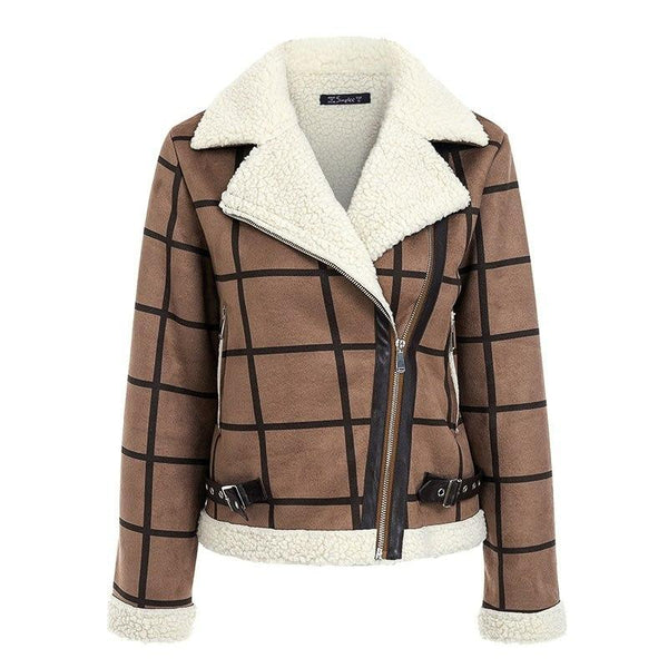 Women Casual Plaid Lamb Jacket Women Coat Faux Fur Turn Down Collar-elatestore -elatestore
