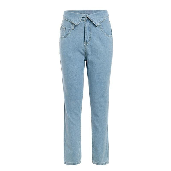 Foldover Waist Jeans Pants Casual pocket Denim Harem Skinny Trousers