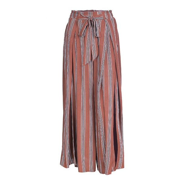 Simplee High split stripe wide leg pants women High wasit summer beach casual pants Elastic sash chic streetwear trousers femme