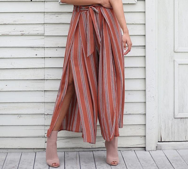 High split Stripe Wide Leg Pants Women Casual Pants Elastic Sash Chic Streetwear Trousers - elatestore