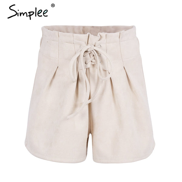 Lace up suede faux leather shorts women Casual high waist shorts female loose soft winter shorts women bottoms - elatestore