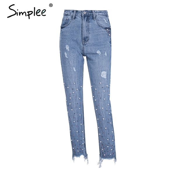 Simplee Pearl Tassels Blue High Waist Jeans Female Streetwear Pocket Casual Jeans 2019 Summer Denim Pants Women Bottom-elatestore -elatestore