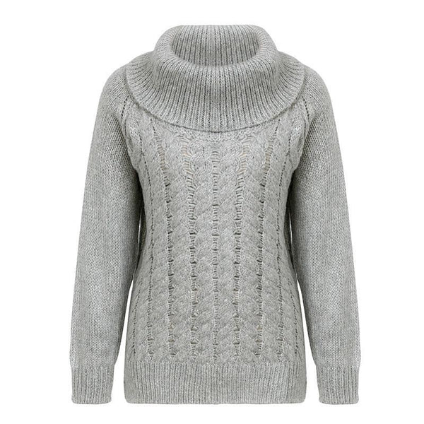 Casual Turtleneck High Collar Pullover Knitted Sweater Thick Twist Jumper - elatestore