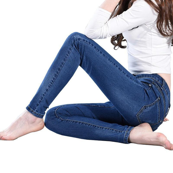 Slim Skinny Jeans Denim Pencil Pants Stretch Full Length Lady Jeans Calca Feminina-elatestore -elatestore