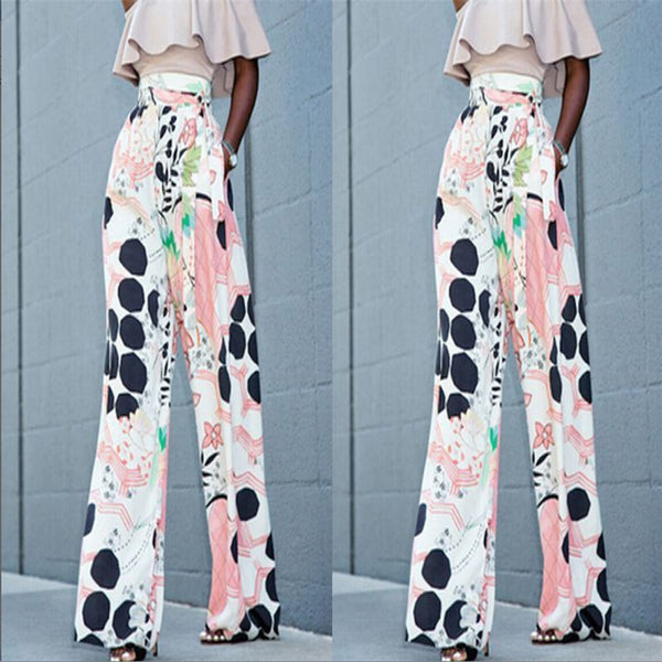 Spring autumn women vintage floral wide leg pants side printed European style ladies casual loose trousers pantalones mujer