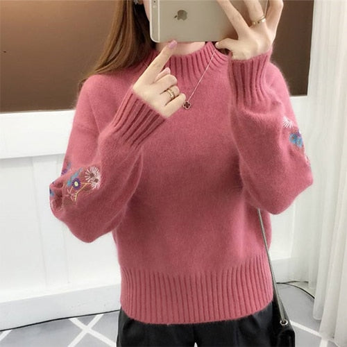 351569b081 Women Warm Embroidery Turtleneck Sweater Long Sleeve Knit Pullover Tops- elatestore -elatestore