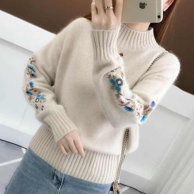 a2dc148ba4 ... Women Warm Embroidery Turtleneck Sweater Long Sleeve Knit Pullover Tops- elatestore -elatestore ...