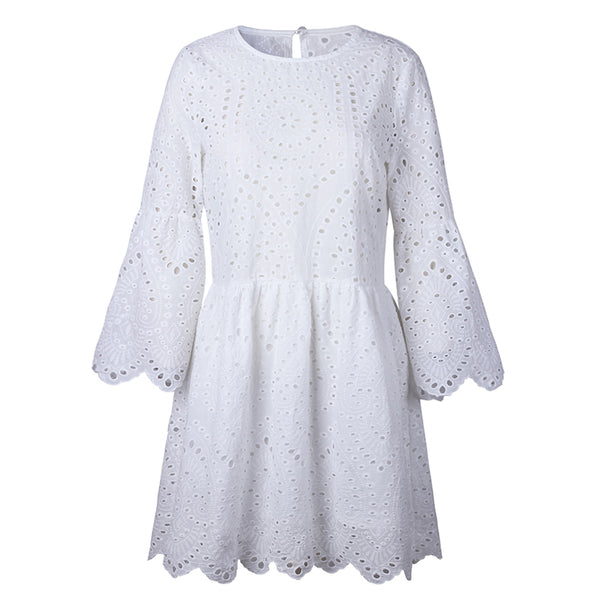 Sexy Lace Flare Sleeves Hollow Out Casual Dress - elatestore