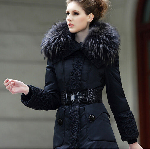 Women Warm Coat Duck Down Jacket Fashion Thicken Long Real Fur Parka-elatestore-elatestore
