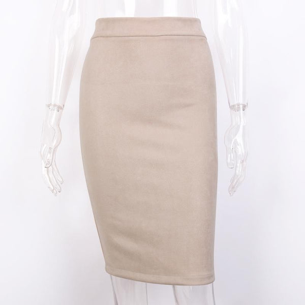 Toplook Split Vintage Suede Bodycon Skirt High Waist Women Knee Length Pencil Skirt Solid Ol Office Elegant Skirts Women's 2019-elatestore-elatestore