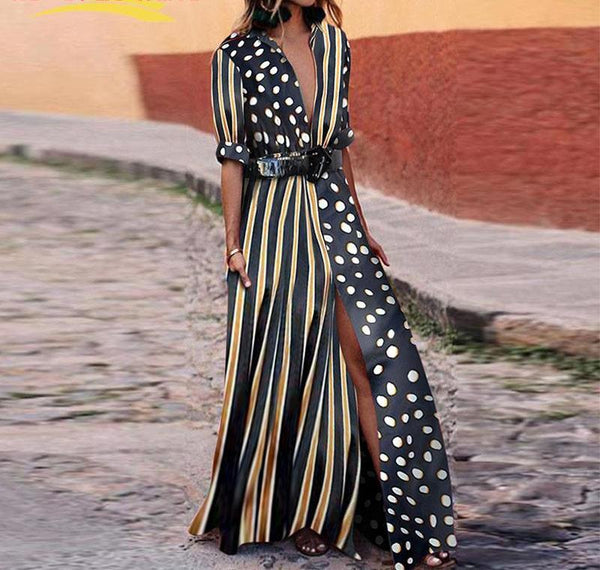 Long Striped Dress Polka Dot Dress Patchwork Casual Boho Shirt Dress Women Robe - elatestore