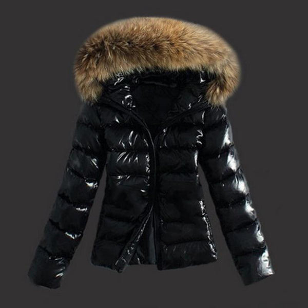 Ultralight Women's Duck Down Jacket Hooded Warm Fur Coat Long Sleeve Goose Down Parka-elatestore-elatestore