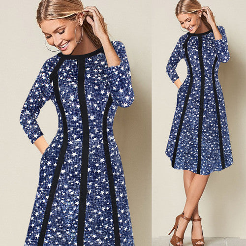 Women's Elegant Contrast Patchwork Printed 3/4 Sleeve Pocket Casual Work Office Business Fit And Flare A Line Dress-elatestore-elatestore