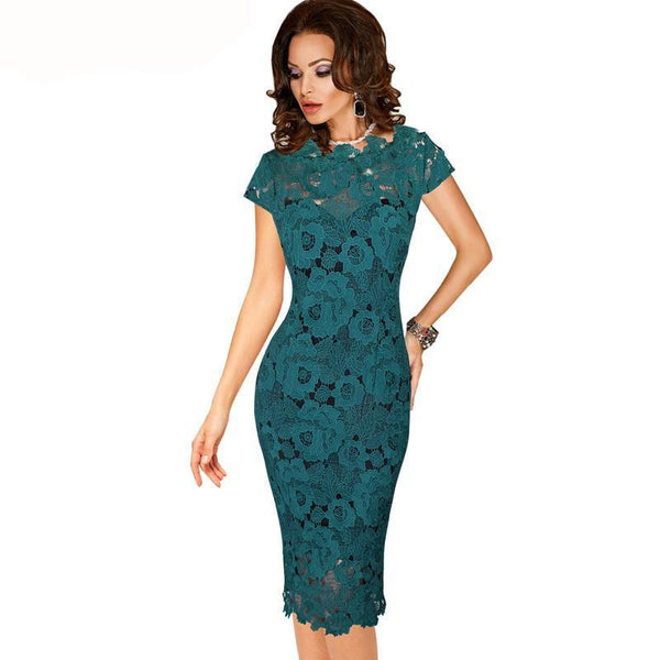 Women Elegant Sexy Crochet Hollow Out Pinup Party Evening Special Occasion Sheath Fitted Vestidos Dress