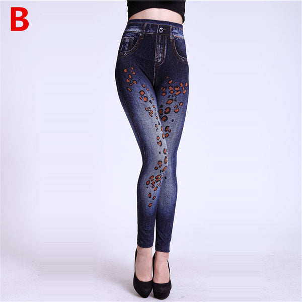 Weljuber Women Leggings Autumn Jeans Leggings Slim Mock Pocket Woman Print Jeggings Ladies Denim Skinny Trousers-elatestore-elatestore