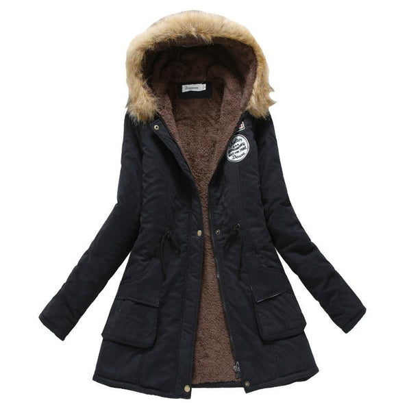 Women Warm Parka Casual Hooded Thickening Coat Fur Jacket - elatestore