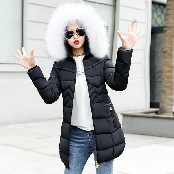 Warm Long Women Jacket Faux Fur Collar Coat Down Parka-elatestore-elatestore