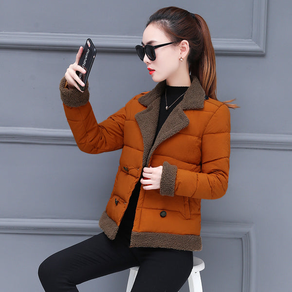 Elegant Slim Coat Double Breasted Jacket Wool Parka