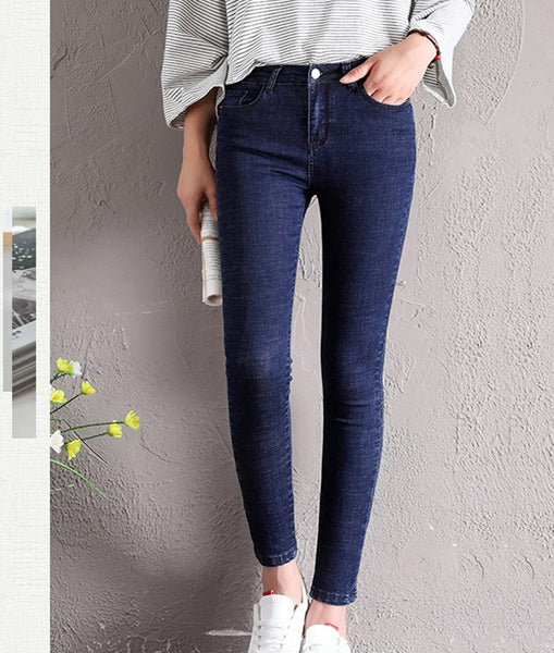 Winter Women Warm Jeans High Waist Cotton Pants Elastic Casual Skinny Velvet Denim Trousers - elatestore