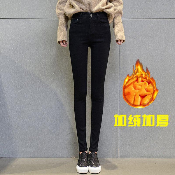 Winter Women Thick Warm Denim Pants Casual Stretch Skinny Pencil Jeans Slim Waist-elatestore -elatestore