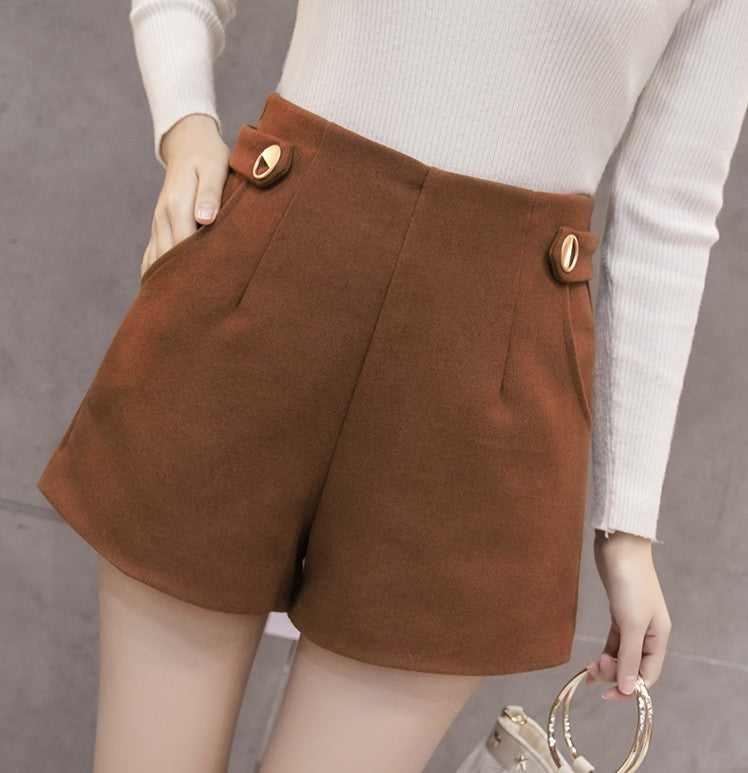 07f04c54 Woman Shorts Pants Style 2019 Autumn Winter Short Pants Wool Woolen  Thickening Shorts Women Short