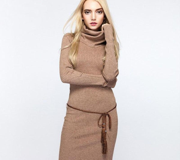 Women Cowl Neck Sweater Dress Slim Fit Rib Knit Long Turtleneck - elatestore