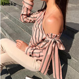 Sandra Casual One Shoulder Striped Tops