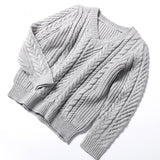 Women Sweaters Pullovers Long Sleeve Knitted Warm Sweater Female Winter V Neck-elatestore-elatestore