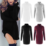 Warm Turtleneck Sweater Scarf Neck Long Sleeve Pullover Top Dress Jumper - elatestore
