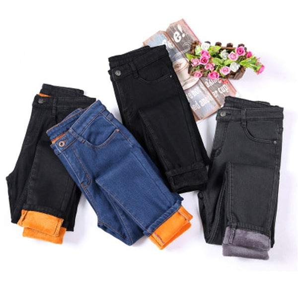 Women Winter New Style Jeans Female Plus Velvet Cashmere Thick Trousers Solid Solor Warm Pencil Pants Plus Size 4XL-elatestore -elatestore