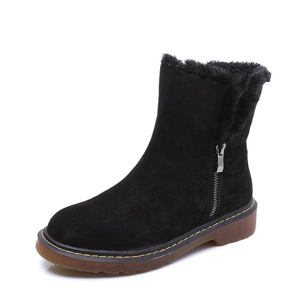 Women's Ankle Warm Boots Winter Slip-Resistant Snow Fur Leather Shoes Mujer-elatestore -elatestore