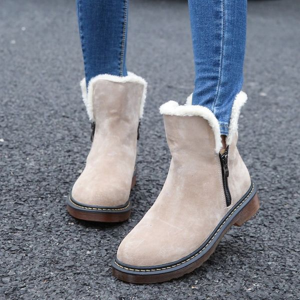 Women Ankle Warm Boots Winter Slip-Resistant Snow Fur Leather Shoes Mujer - elatestore