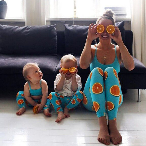 Mom And Kids Fitness Suits Crop Orange Printed Top Legging Pants Sets-elatestore -elatestore