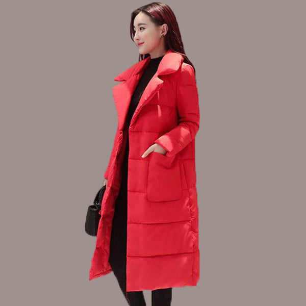 Women's Red Down Jacket 2017 New Winter Women Down Coats Female Long Section Slim Women Coat Female Outerwear Duck Down Jacket