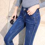 Women Thick Velvet Jeans Female Skinny Stretch Trousers Pencil Pants Ladies Winter Warm Denim Sexy Ladies Leggings Jeans 2019-elatestore -elatestore