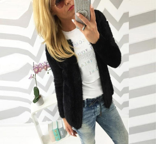 Women Warm Cardigan Slim Jacket Coat Knitted Cardigan Sweater Poncho-elatestore -elatestore