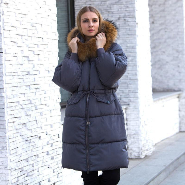 Women Warm Big Real Raccoon Fur Collar Jacket Hooded Coat Thicken Parkas - elatestore