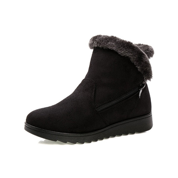 Women Ankle Boots Waterproof Wedge Platform Warm Snow Boots Shoes-elatestore -elatestore